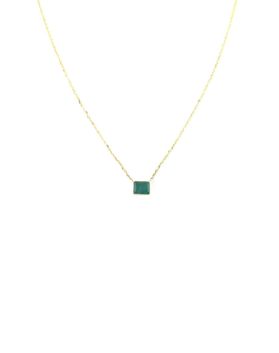 14K Gold Green Emerald Necklace