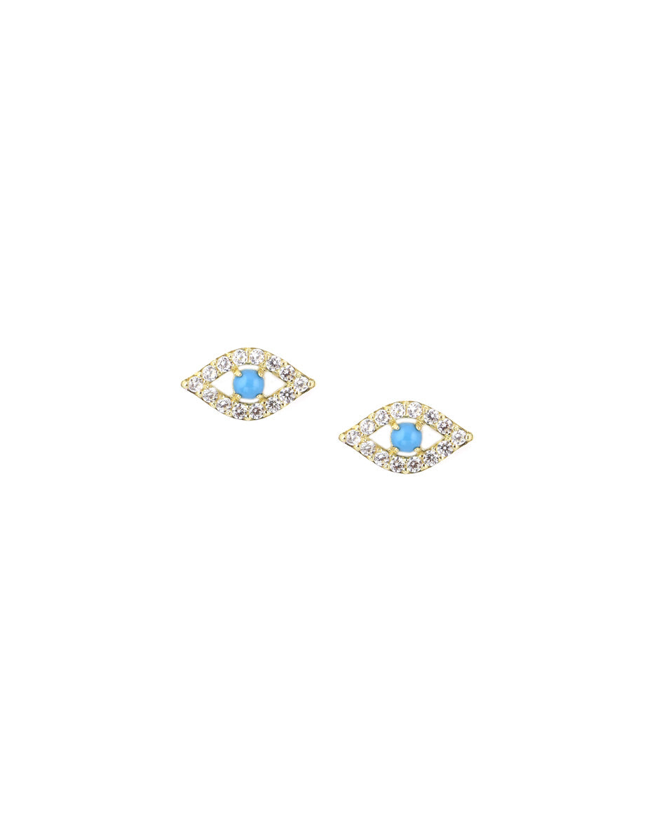 14K Gold Turquoise Cut Out Evil Eye Stud