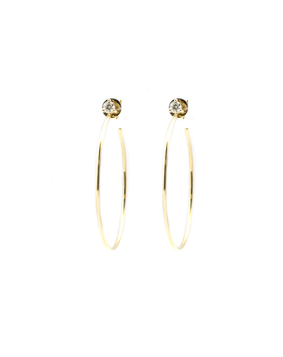 14K Gold Hoop Earrings with Diamond Stud