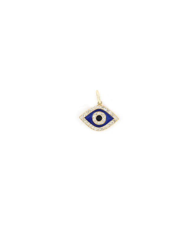 14K Gold Mini Navy Enamel Evil Eye Charm