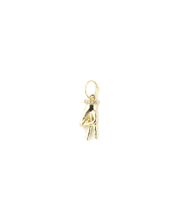 14K Gold Peace Sign Hand Charm