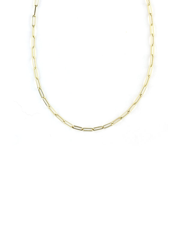Small 14K Gold Paper Clip Chain