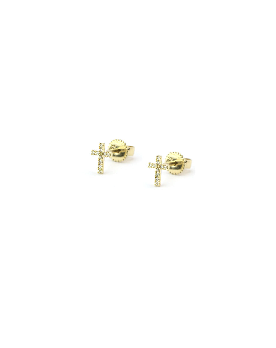 14K Gold Tiny Diamond Cross Studs