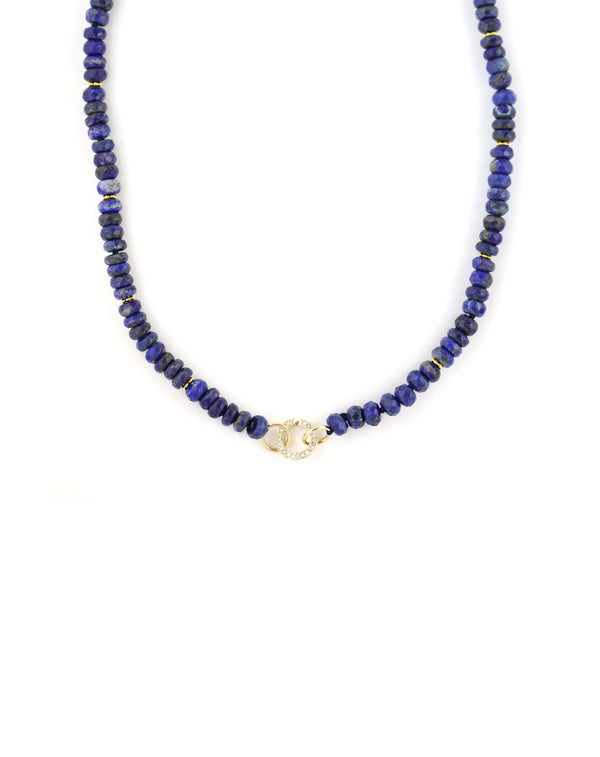 14K Gold Lapis Mini Diamond Lock Necklace