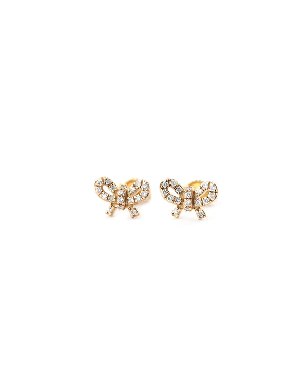 14K Rose Gold Diamond Bow Studs