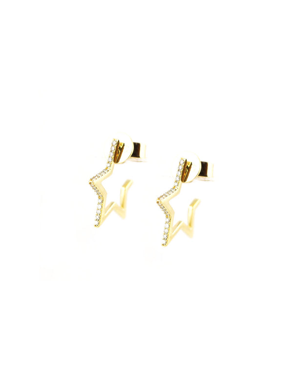 14K Gold Diamond Star Huggies