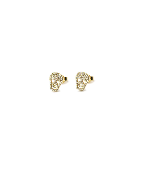 14K Gold Diamond Skull Studs