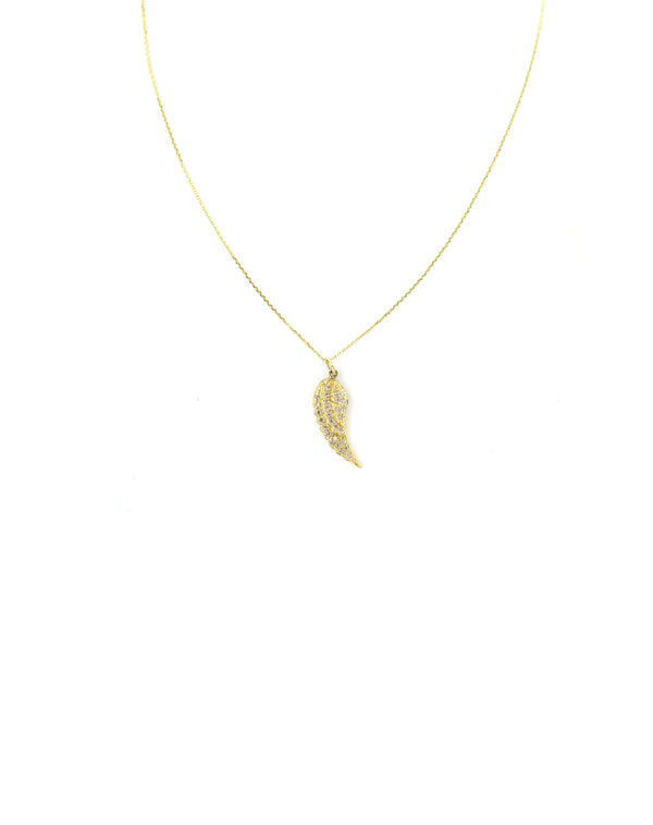 14K Gold Diamond Angel Wing Necklace