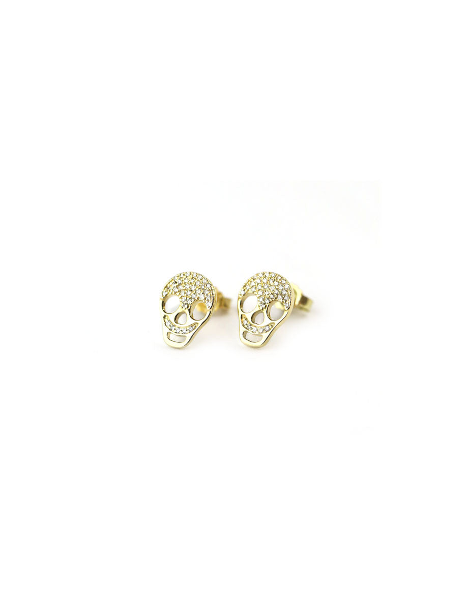 14K Gold Diamond Skull Stud Earrings