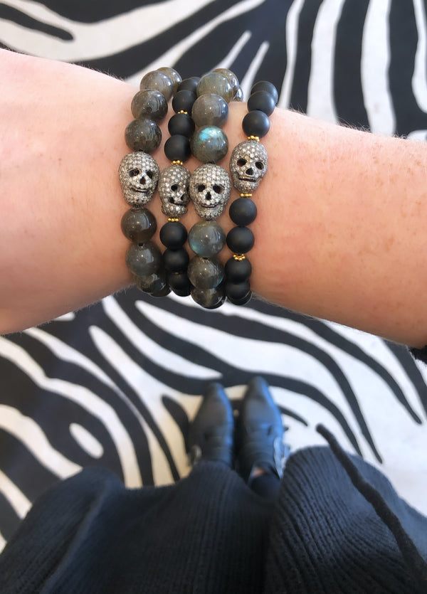 Labradorite Diamond Skull Stretchy