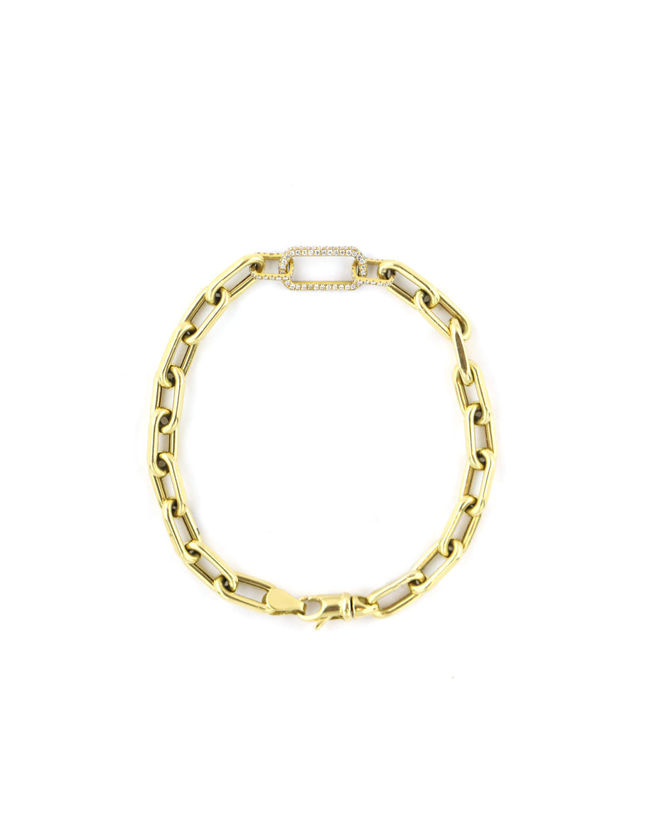 18K Gold Three Diamond Link Bracelet - 8""
