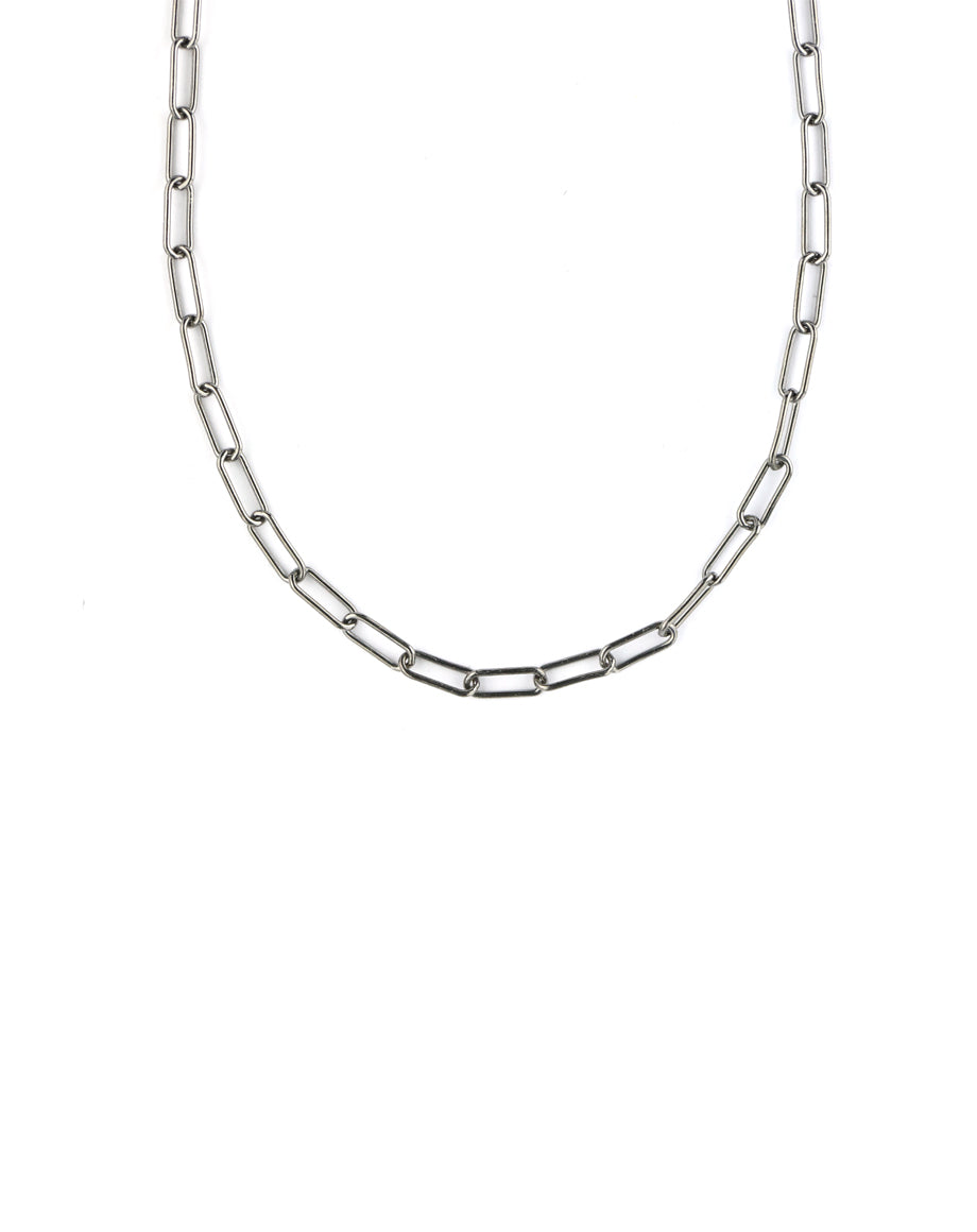 Gunmetal Paper Clip Necklace