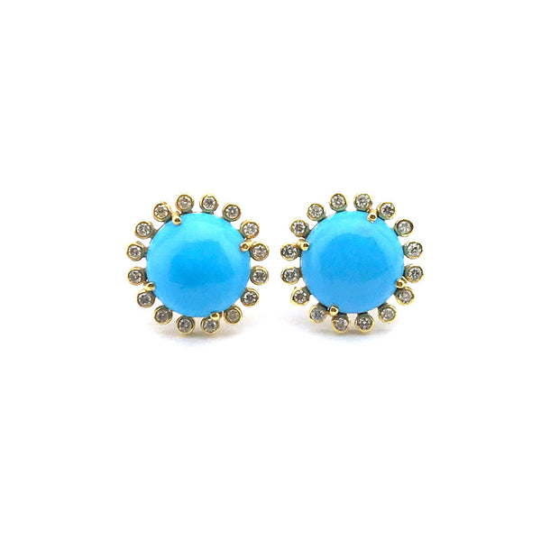 Large Sleeping Beauty Turquoise and Diamond Stud Earrings