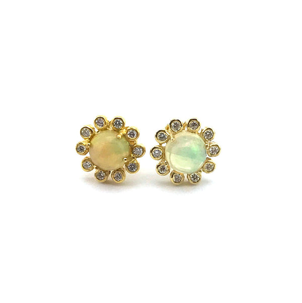 14K, Diamond, and Opal Stud Earrings