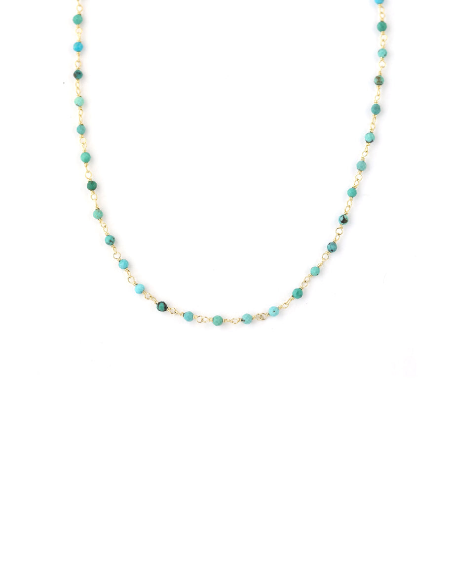 The Tin Cup Necklace: 3mm Faceted Turquoise