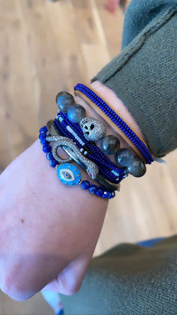 Chan Luu Indigo Seed Bead Leather Bracelet