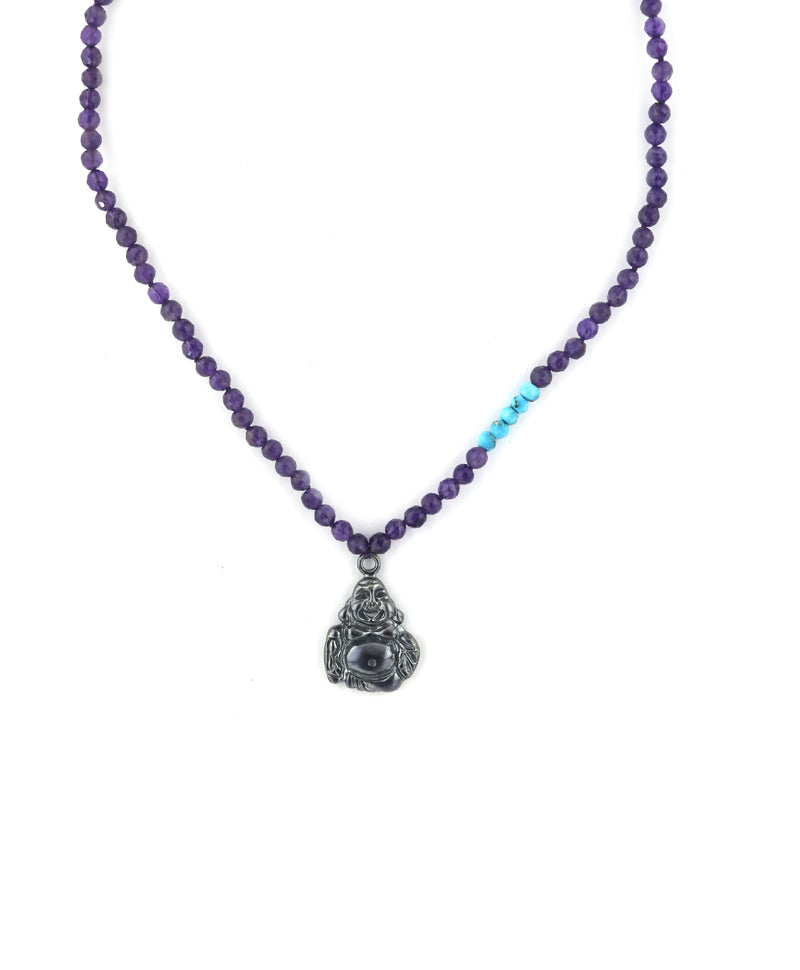 Amethyst Silver Buddha Necklace