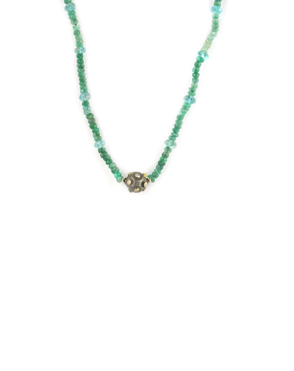 Tourmaline Aquamarine Diamond Ball Necklace