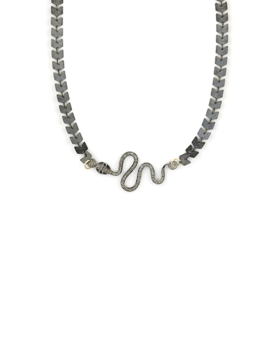 Diamond Snake Silver Arrow Chain Necklace