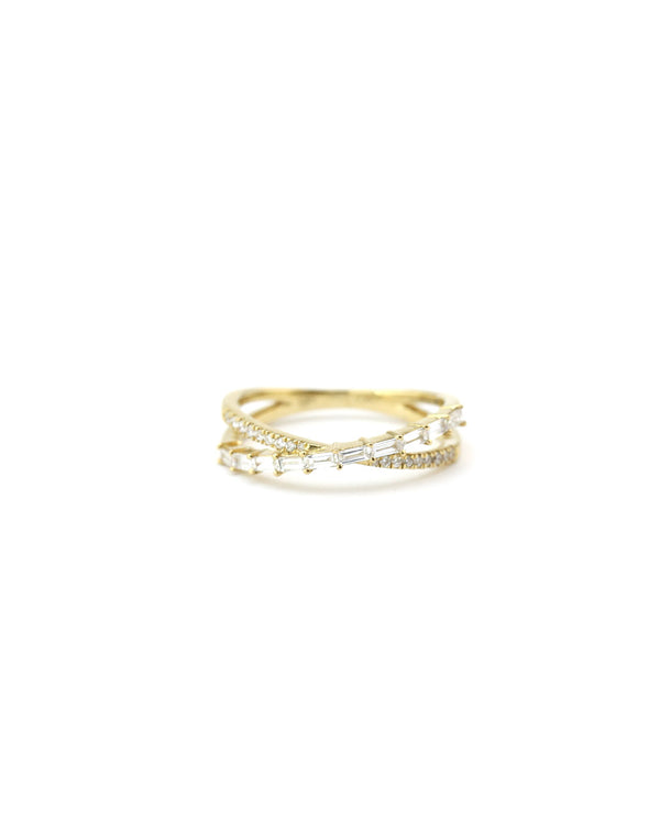 14K Gold Baguette Diamond X Ring