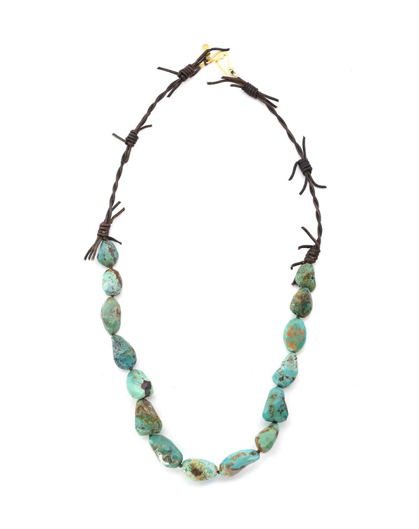 Turquoise and Barb Wire Leather Necklace