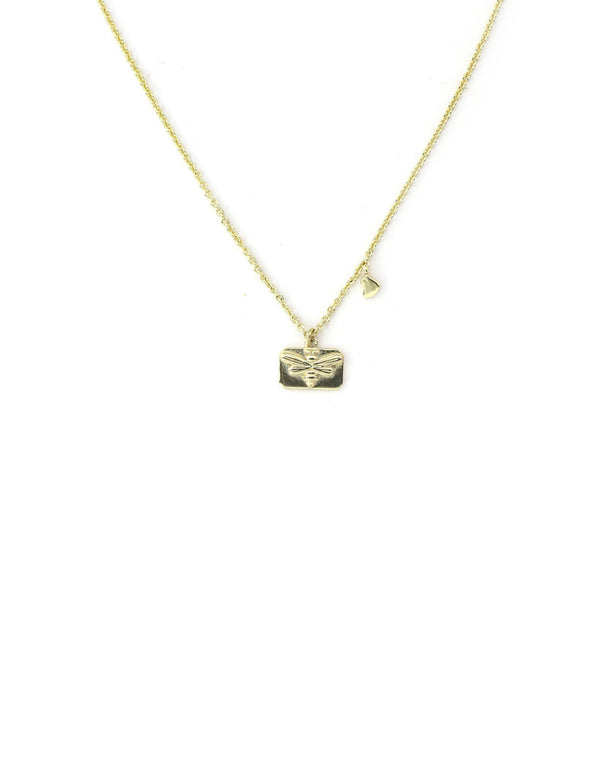 Gold Bee Charm Necklace