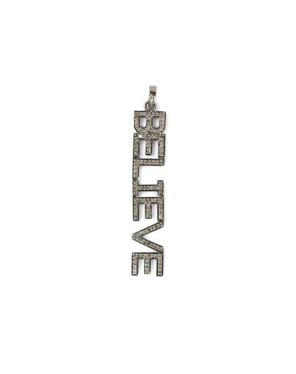 Large BELIEVE Diamond Charm