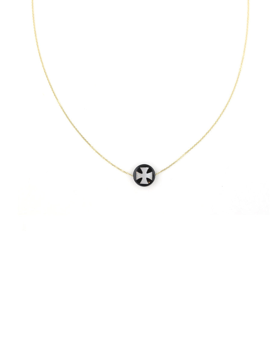 14K Gold Mother of Pearl Black Cross Greek Necklace