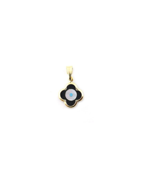 14K Gold Greek Black Evil Eye Clover Charm