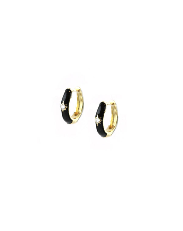 14K Gold Black Enamel Diamond Huggie