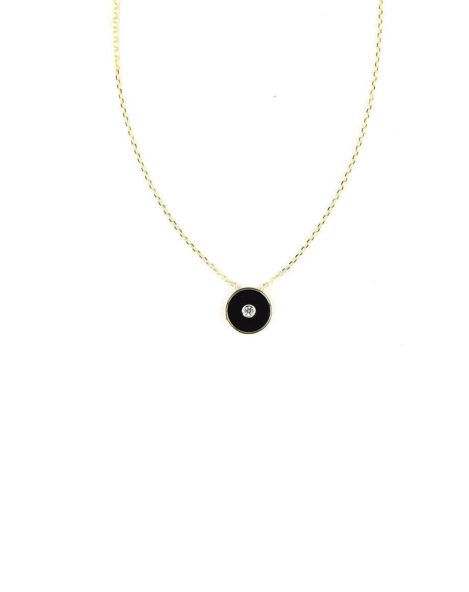 Modern Black Enamel Evil Eye Necklace