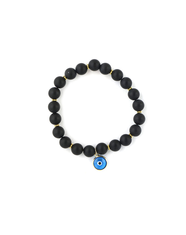 Matte Onyx Turkish Evil Eye Charm Stretchy