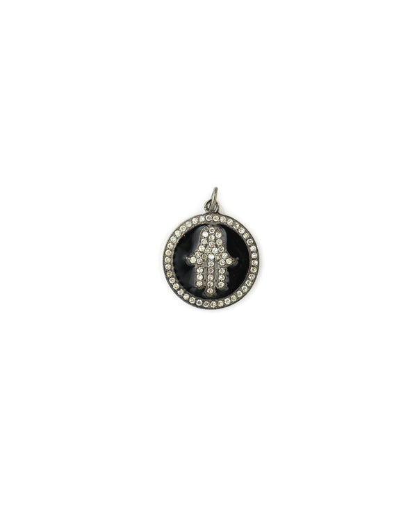 Black Enamel Diamond Hamsa Coin Charm