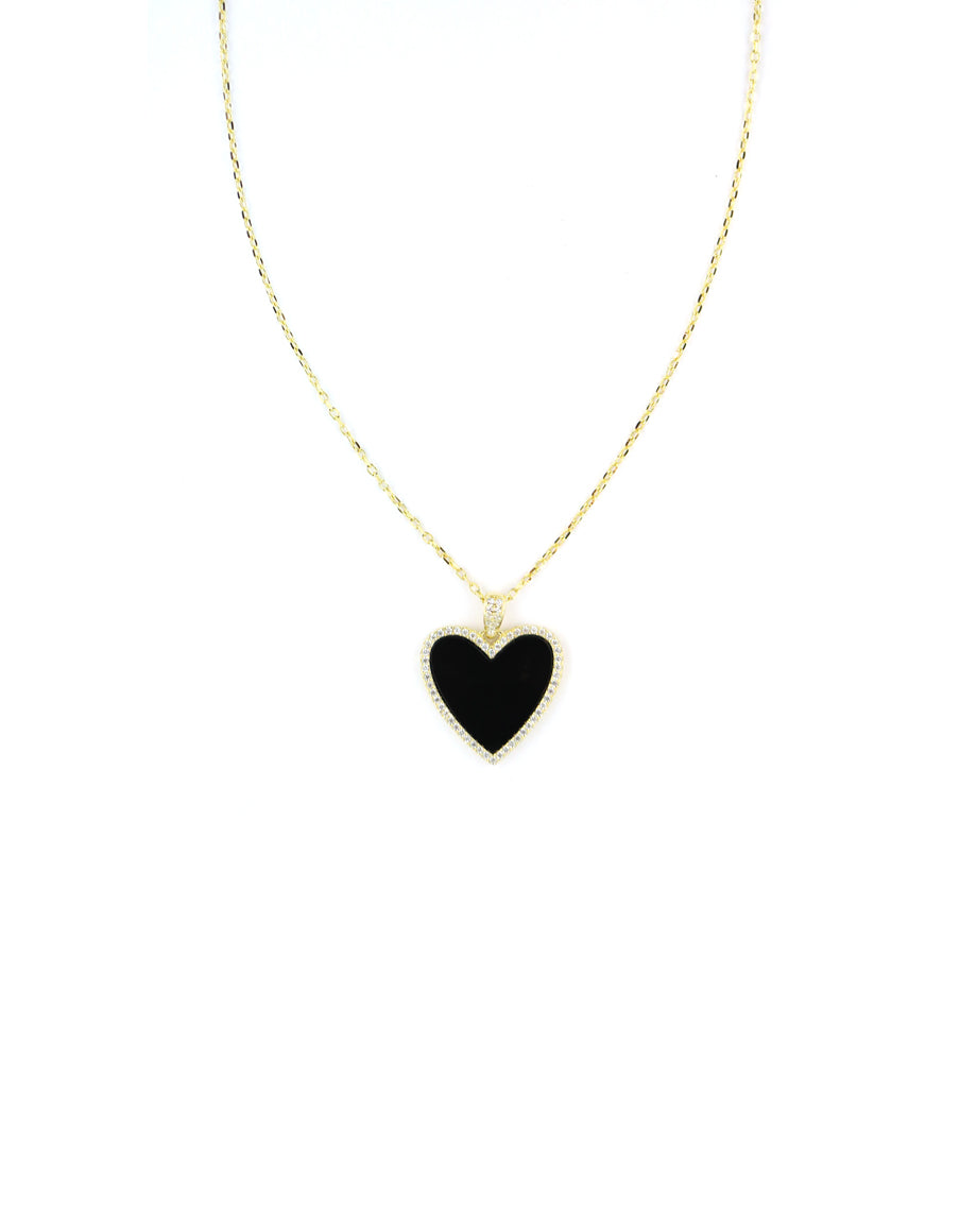 Black CZ Heart Necklace