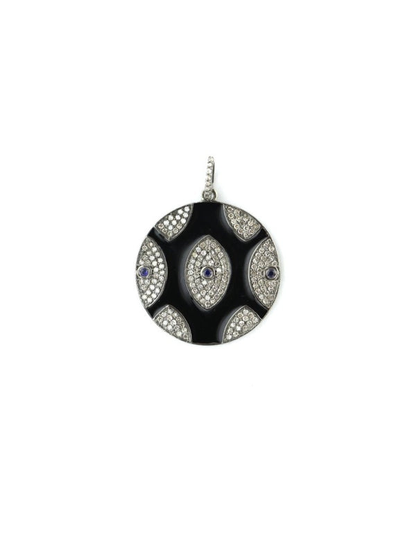 Black Multi Evil Eye Diamond Pendant