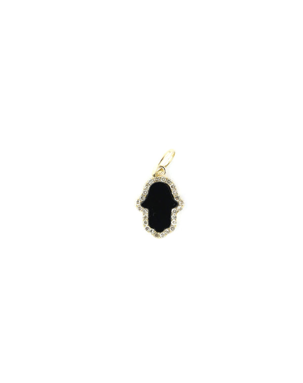 14K Gold Exclusive Mini Black Onyx Hamsa Charm