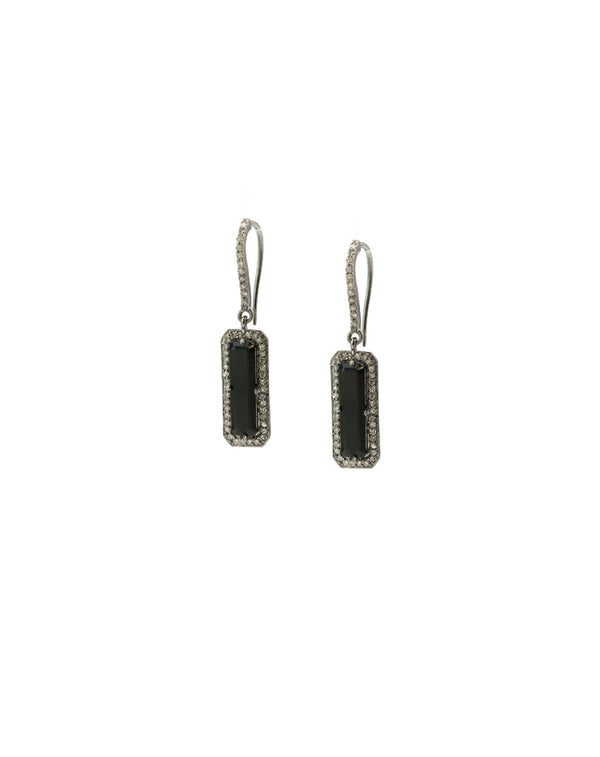 black onyx slab earrings