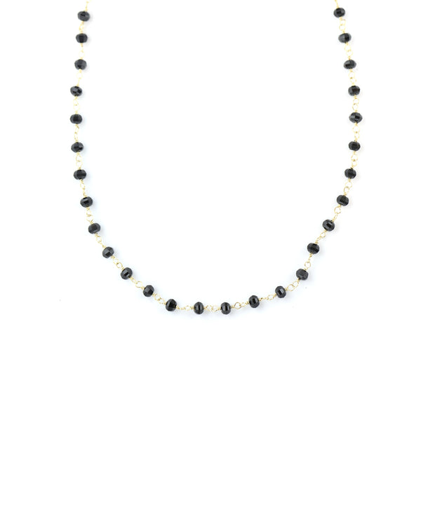 The Tin Cup Necklace: 4mm Faceted Black Onyx