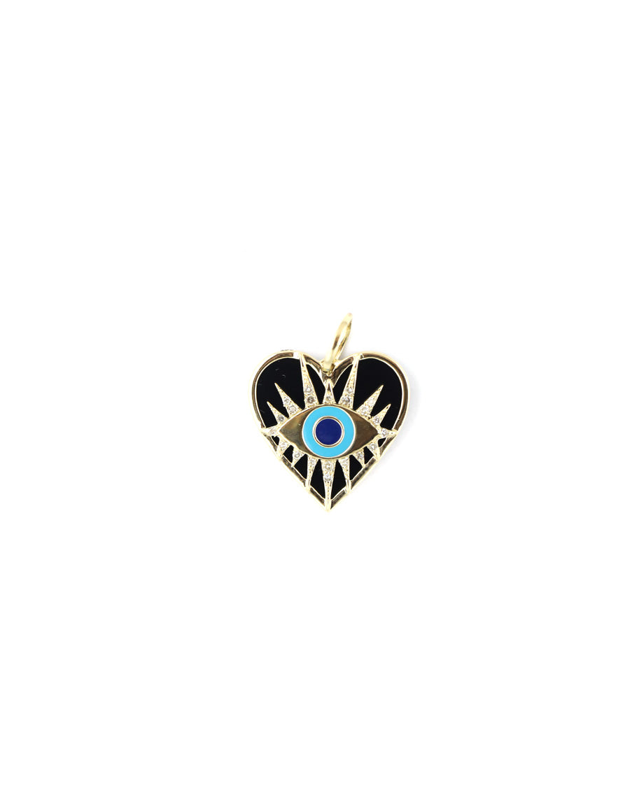 14K Gold Black Onyx Evil Eye Heart Charm
