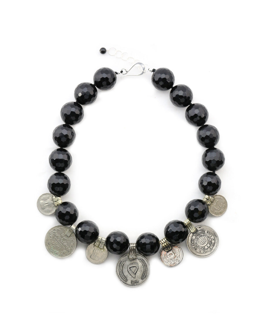 She-Vah | Faceted Onyx with Vintage Afghan Coins