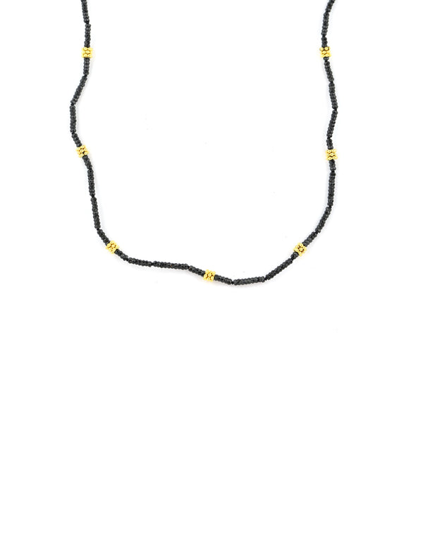 Black Spinel Gold Rondelle Necklace