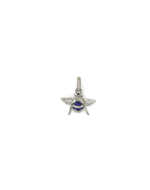 Mini Silver Navy Diamond Bee Charm
