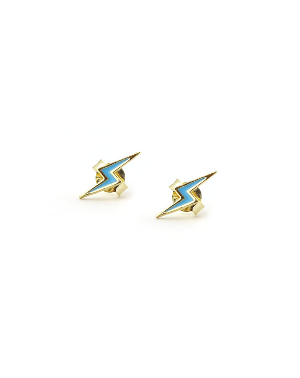 Blue Enamel Lightning Bolt Stud