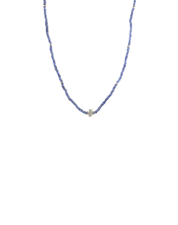 Blue Sapphire Diamond Cross Necklace
