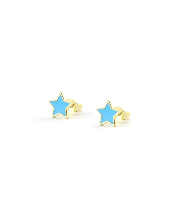 Blue Enamel Star Stud