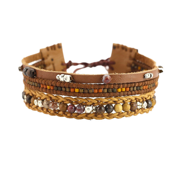 Chan Luu | Three Tier Brown Leather Bracelet