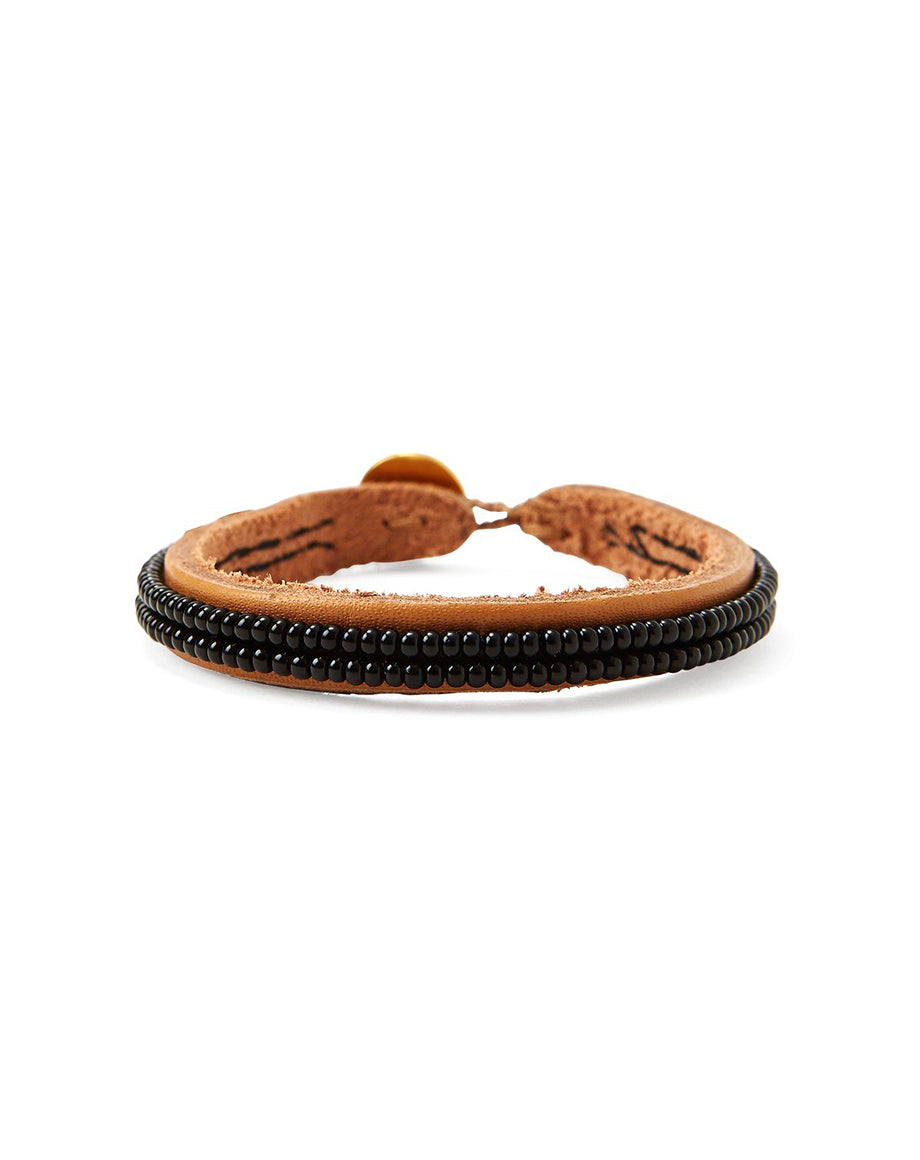 Chan Luu Black Seed Bead Leather Bracelet