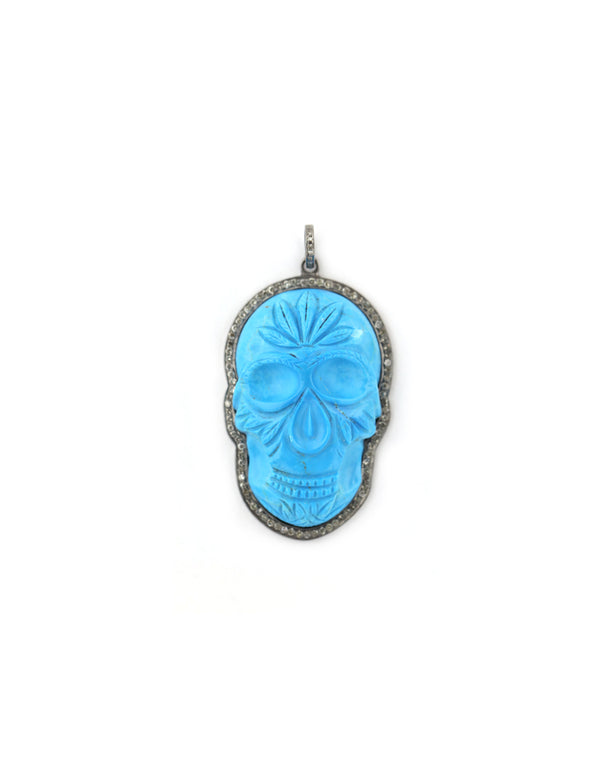 Large Carved Turquoise Skull Pendant