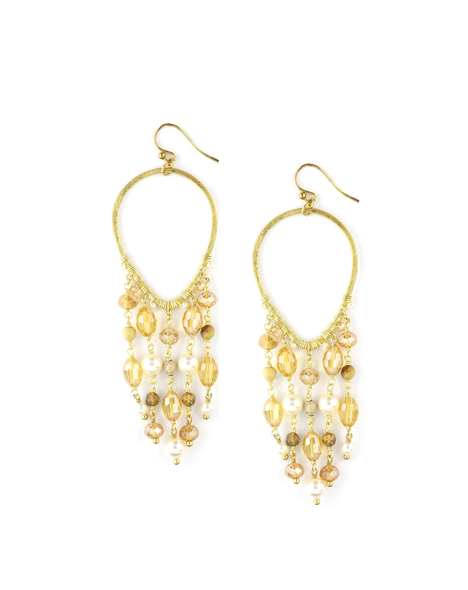 Chan Luu Golden Pearl Chandelier Earrings