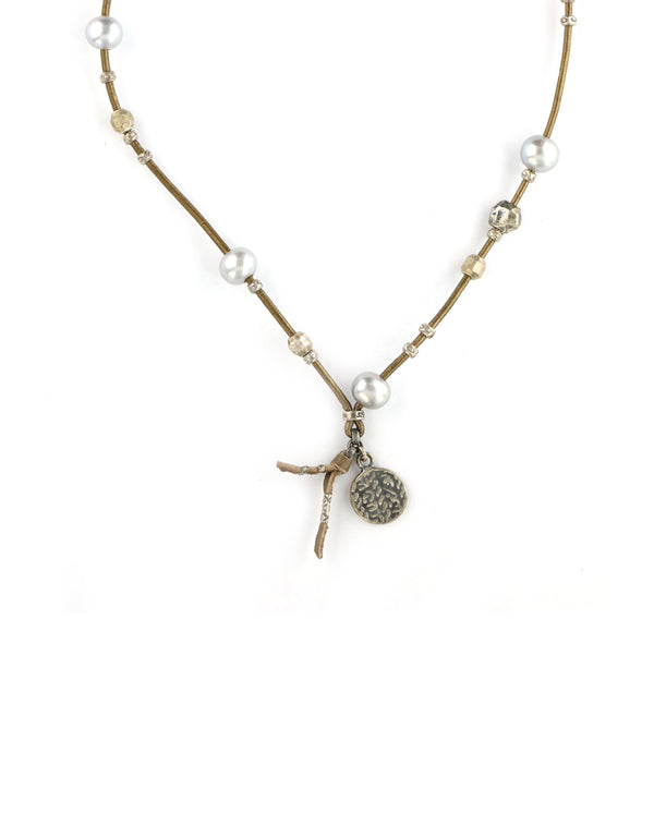 Chan Luu Gray Pearl Leather Necklace